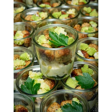 Boulettes végétales, gnocchi au gorgonzola, portobello